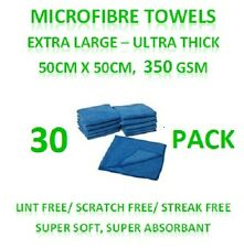 New 30 Microfibre Towels - Extra Large Thick Cleaning Cloths 50cm x 50cm 350GSM