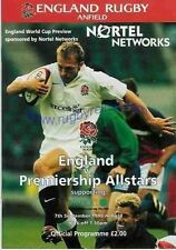 ENGLAND v PREMIERSHIP ALL STARS 1999 RUGBY PROGRAMME 7 SEPTEMBER - ANFIELD