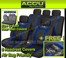 Sports Style Black Blue Leather Look Car 50-50 60-40 Split Rear Seat Covers Set+