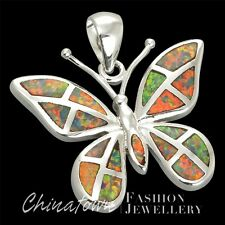LARGE BUTTERFLY LAB MEXICAN BROWN FIRE OPAL SILVER SF JEWELRY NECKLACE PENDANT