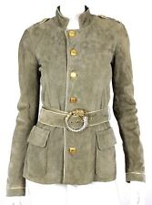 ROBERTO CAVALLI Olive Suede Gold Leather Trim Military Jacket 38