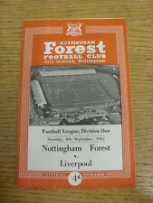 08/09/1962 Nottingham Forest v Liverpool  (Very creased). Condition: We aspire t