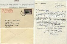 CEYLON 1939 MURUNKAN MISSION LETTER 50c SINGLE FRANKING to PALMYRA USA
