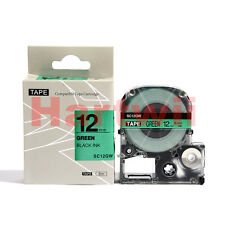 """EPSON LC-4GBP Compatible 1/2 x 26"""" Label Tape Black on Green 12mm 8m  LW400 500"""