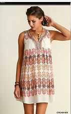 UMGEE Bohemian Print Embroidered Neckline Tunic Dress M Medium NWT NEW