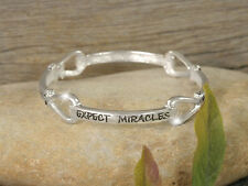 EXPECT MIRACLES (FROM GOD) ELEGANT RELIGIOUS SILVERTONE STRETCH BRACELET #254-E