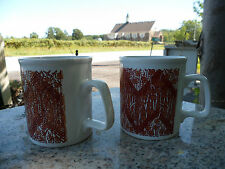 Lot of 2 Red White Flower Floral Kiln Craft Mugs England Staffordshire Pottery