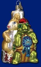 TORTOISE AND HARE OLD WORLD CHRISTMAS GLASS AESOP'S FABLES THEME ORNAMENT 12197