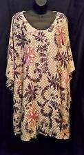 PLUS SIZE 4X 5X 6X 7X 8X Purple Pink Cover-Up Caftan Tunic Floral Blouse NWOT