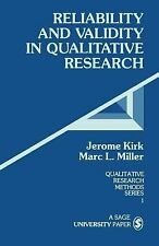Qualitative Research Methods Ser.: Reliability and Validity in Qualitative...