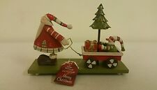 Shabby Chic Christmas Tree Candle Bridge + Wooden Santa Pulling Trailer Ornament