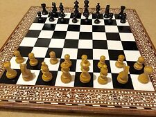 "Rosewood White Inlaid Folding  Chess Board 20"" With Chess Pieces"