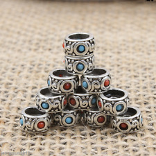 1Pcs 8MM Tibetan Silver Charms Turquoise Spacer Beads For Hot Jewelry Making DIY