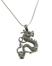 Stainless Steel 3D Dragon Keepsake Memorial Vial Pendant W/ Necklace
