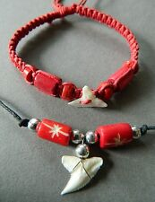 SHARK TOOTH NECKLACE BRACELET SET RED BONE BEAD sharks teeth ADJUSTABLE