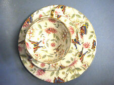 ENGLISH PORCELAIN CHINTS&BUTTERFLY CUP SAUCER CAKE PLATE OLD ROYAL BONE CHINA