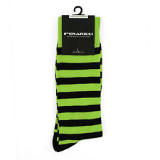 Men's Colorful Lime & Black College Stripe Dress Casual Socks Size 10-13 New