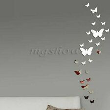 30Pcs Butterfly DIY 3D Art Silver Acrylic Mirror Wall Sticker Home Decoration