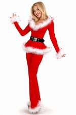 Sexy Women's Santa Christmas Red Party Ball Costume Set Off Shoulder Top+Pants