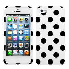 For Apple iPhone 5 5S SE HARD Case Snap On Phone Cover White Black Polka Dots