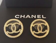 CHANEL GOLD METAL CC LOGO EARRINGS LARGE SIZE 2016 FRANCE