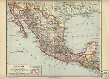 1897= MEXICO = Antica Mappa = OLD MAP