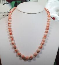 "Genuine Natural Pink Coral Graduated Necklace 7-10mm.Beads. 18"" CORR"