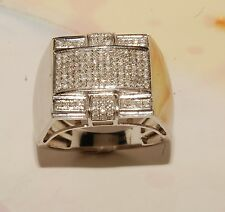Diamond And White Gold  Mens Ring Jewelry  Brand New Micro Pave Ring Pinky Ring