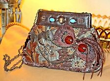 VINTAGE WHIMSICAL MARY FRANCES TAPESTRY MICRO BEADED FEATHERED PURSE
