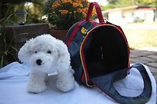 Build-A-Bear BABW White Dog With Fabric Crate Pet Carrier Wheels & Strap
