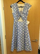 Tara Starlet Women's Peekaboo Dress Blue/White Polka Dot Size 8 Vintage 50s/60s