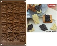 STAMPO CIOCCOLATINI SILICONE SF 196-CHOCO TAGS IN LOVE SILIKOMART(16 placchette)