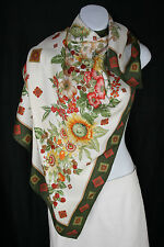 "Gucci Large Floral Print Silk Scarf, rolled edge - Autumn theme - 34"" x 34"""