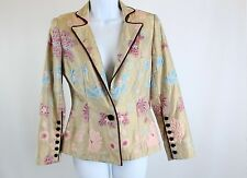 Zang Toi 100% Silk Jacket Blazer Tan Print Size Small