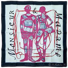 """§§§ foulard scarf carré Hermès neuf new  """" Monsieur Madame """" §§§"""