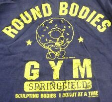 Round Bodies Gym The Simpsons GET PLUMPED UP 1 Donut at a Time L/S Navy Size M