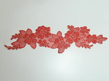 33cm X 7.5cm BIFUL FLOWER APPLIQUE / LACE TRIM IN RED WITH GOLD EDGING ref AP64