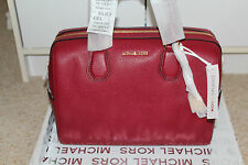 NWT Michael Kors Cherry Red Medium Leather Mercer Duffle Purse Bag $298