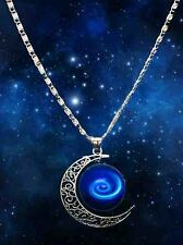 Free shipping Stylish Galaxy Universe Crescent Moon Round Pendant Necklace A19