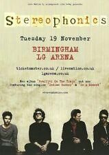 Stereophonics double sided A5 Colour UK  Birmingham LG Arena Concert Flyer