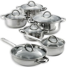 Heim 12 Piece Cookware Set Stainless Steel Pots Pans w/ Glass Lids Ply New