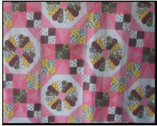 King Size Cheater Quilt Top Dresden Patch Rose 90 x 108 (3 Yards)