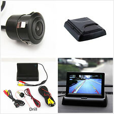 "4.3"" Foldable LCD Screen Monitor Display+Car Rear View Reverse Camera with Drill"