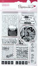 Gummi Stempel Set PAPERMANIA Stadt 9 Stück Typ Druck Text Schreibmaschine Liebe