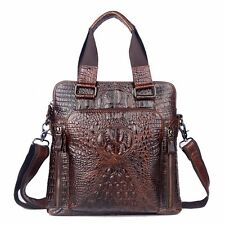 Men Genuine Leather Briefcase Crocodile Handbag Business Laptop Computer Bag