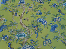 Thibaut Fabric 'Giselle' Green 4.1 METRES (410cm) Linen Blend - Imperial Garden