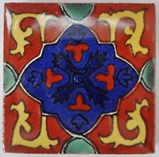 Fairly traded hand painted ceramic mexican talavera tile-patricia (T12859-15)