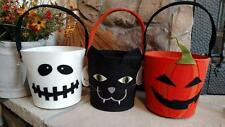 "Set 3 NWT DII Felt HALLOWEEN GIFT BAG Candy Bucket 14 x 8 x 6"" Skull Cat Pumpkin"