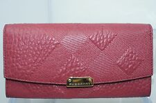 Burberry Rose Wallet Grain Check Porter Continental Leather Bag Handbag NWT