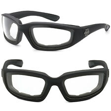 Choppers Wind Resistant Foam CLEAR Sunglasses Sports Motorcycle Riding Glasses